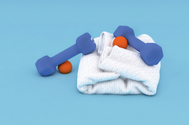 Weights laying on a towel