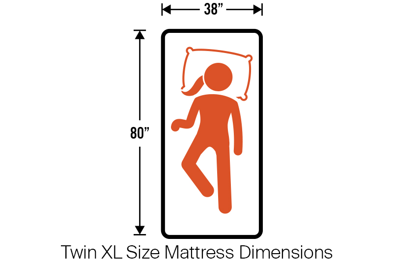 "Twin XL Mattress Dimensions = 38"" x 80"""